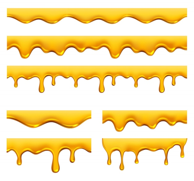 Kapiący miód żółty syrop płynny złoty olej spada i zachlapuje realistyczny szablon