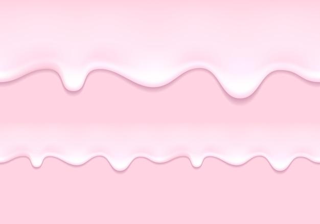 Kapie jogurt. produkt mleczny truskawkowy płynie