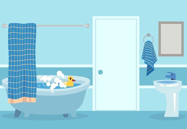 Kąpiel kreskówka. ładny biały gorący prysznic i wanna z bąbelkami i zabawką w łazience na białym tle relaksująca ilustracja pokoju