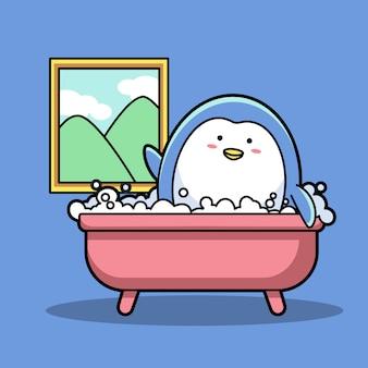 Kąpiel pingwina w łazience