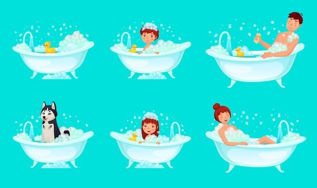 Kąpiel z bąbelkami. łazienka wanna mężczyzna, relaksująca kobieta i dzieci. ilustracja kreskówka umyć psa