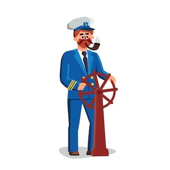 Kapitan marynarz osoba trzymająca koło statku wektor. kapitan mężczyzna ubrany w mundur i kapelusz fajkę i sterującą statek transportu morskiego. postać marynarza ilustracja kreskówka płaska