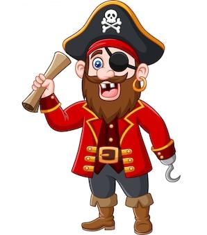 Kapitan pirat kreskówka trzyma mapę skarbów