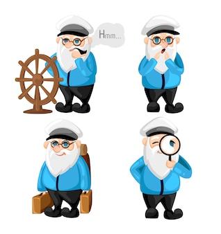 Kapitan statku w mundurze na morskich bohaterach kreskówek marynarzy ustawia kapitana różne wyrazy twarzy. szczęśliwy smutny uśmiech zaskoczony, poważne i inne emocje. prosta ilustracja.