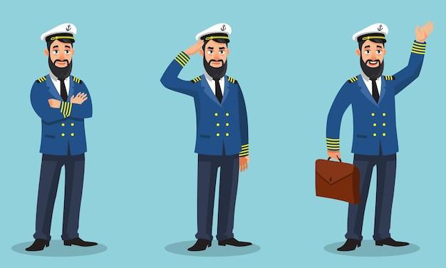 Kapitan statku w różnych pozach. mężczyzna w stylu cartoon.