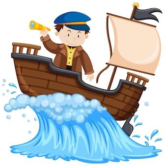 Kapitan stojący na statku na białym tle