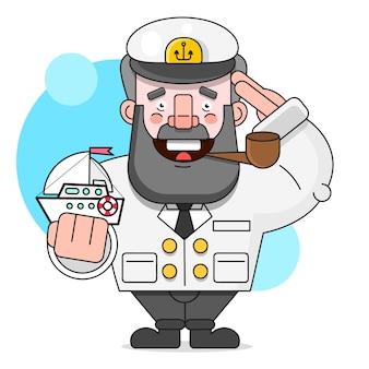 Kapitan z fajką i statkiem. ilustracja na białym tle nadaje się do drukowania kart okolicznościowych, plakatów lub t-shirt.