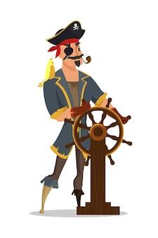 Kapitan za kierownicą z papugą na ramieniu