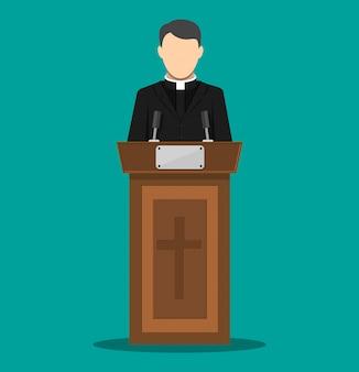 Kapłan przemawiający z trybuny