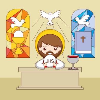 Kapłan przy ołtarzu z ciałem i krwią chrystusa. ilustracja kreskówka corpus christi