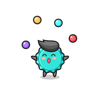 Kapsel cyrkowy kreskówka żonglujący piłką, ładny styl na koszulkę, naklejkę, element logo