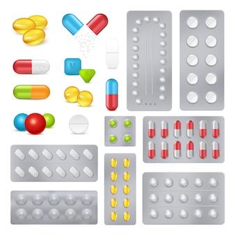 Kapsułki z pigułkami leku realistyczne obrazy ustawione