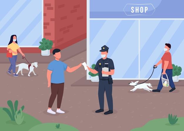 Kara za nie noszenie maski w płaskim kolorze ilustracji. przepisy dotyczące kwarantanny. bezpieczeństwo publiczne podczas pandemii. policjant z cywilnymi postaciami z kreskówek 2d z pejzażem miejskim w tle