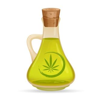 Karafka z olejem konopnym, na białym tle. szklany dzbanek z olejem. wyciągi z konopi indyjskich w słoikach. logo marihuany na etykiecie. ilustracja.