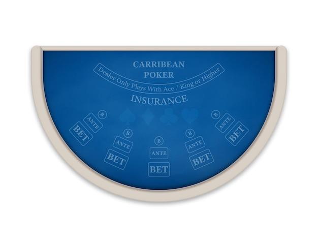 Karaibski stół do pokera i kasyna wykonany z niebieskiego materiału na białym tle