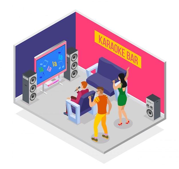 Karaoke izometryczny z grupą ludzkich postaci bawiących się w sali karaoke z głośnikami