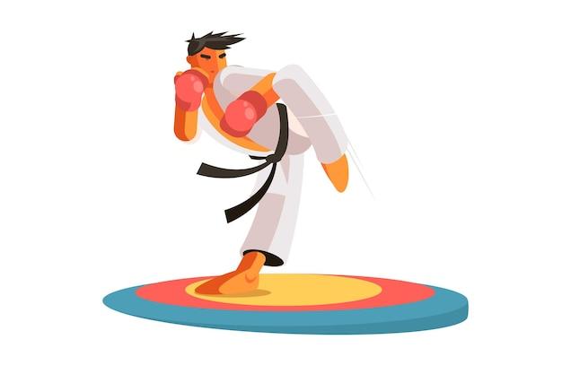 Karate człowiek na ilustracji pociągu. facet w rękawiczkach ochronnych i jednolity płaski styl.