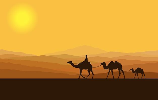 Karawana z wielbłądami na pustyni z górami w tle.