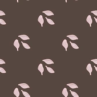 Kardamon wzór na brązowym tle. ornament szkic roślin ładny. geometryczny szablon tekstury dla tkaniny.