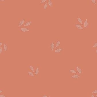 Kardamon wzór na tle brzoskwini. ornament szkic roślin ładny. geometryczny szablon tekstury dla tkaniny.