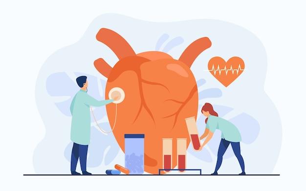 Kardiolodzy badający serce za pomocą stetoskopu i próbki krwi w probówkach laboratoryjnych wśród tabletek i diagramu bicia serca. ilustracja wektorowa dla kardiologii, badania lekarskie, koncepcja chorób serca