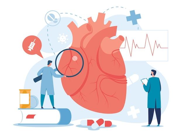 Kardiologia kardiolodzy badający serce wektor do przeszczepu diagnostyki medycznej wysokiego cholesterolu