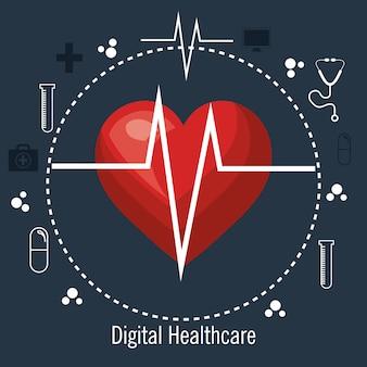 Kardiologia usługi medyczne na białym tle