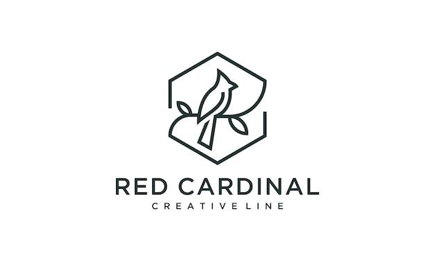 Kardynał ptak znak zarys logo ilustracja