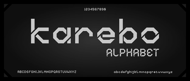 Karebo, cyfrowa nowoczesna czcionka alfabetu z szablonem w stylu miejskim