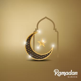 Kareem ramadan ze złotym księżycem i kopułą meczetu