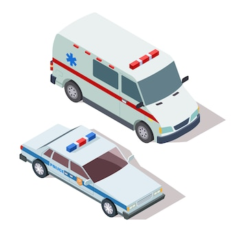 Karetka i samochody policyjne 3d izometryczny wektor