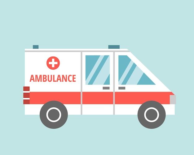 Karetka medyczna w stylu płaskiej kreskówki na jasnoniebieskim tle. grafika wektorowa, ikona.