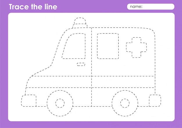 Karetka pogotowia - arkusz przedszkolny do śledzenia linii transportu dla dzieci