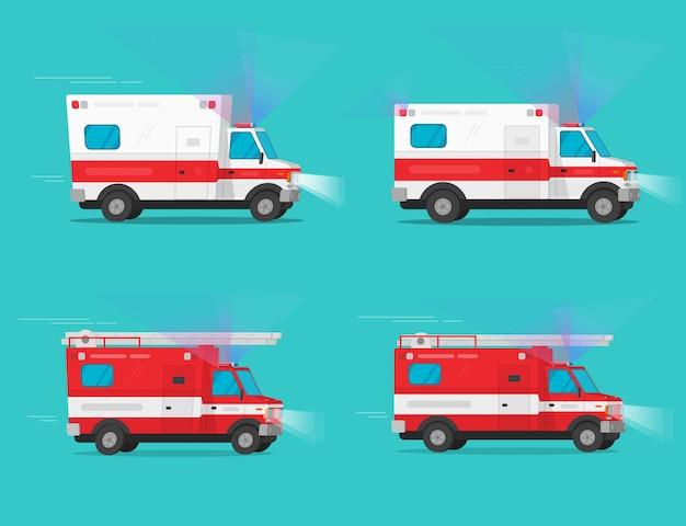 Karetka pogotowia i wóz strażacki lub samochód strażacki i medyczny samochód ratowniczy poruszają się szybko z syreną flasher światło płaskie ilustracja kreskówka obraz clipart