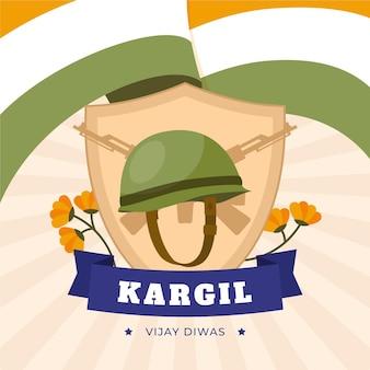 Kargil vijay diwas ilustracja z indyjską flagą