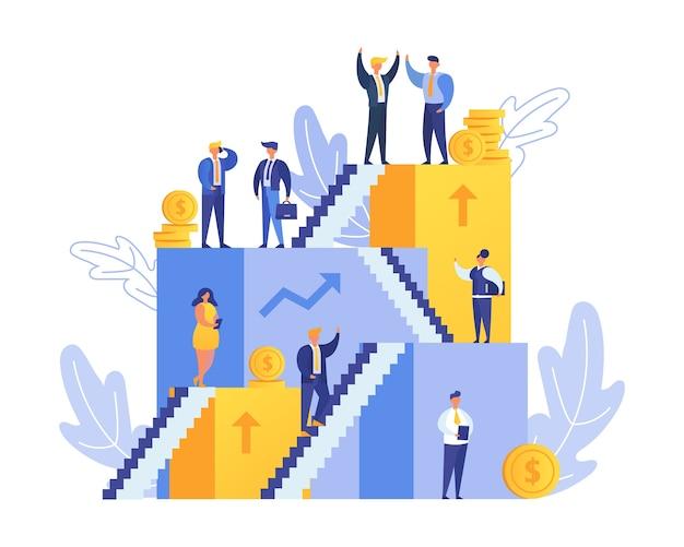 Kariera i ludzie na schodach idą w górę, rozwój lub drabina w mieszkaniu biznesowym
