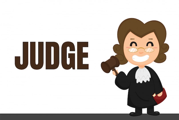 Kariera kreskówek. sędziowie lub prawnicy w mundurach z orzeczeniami sądowymi.