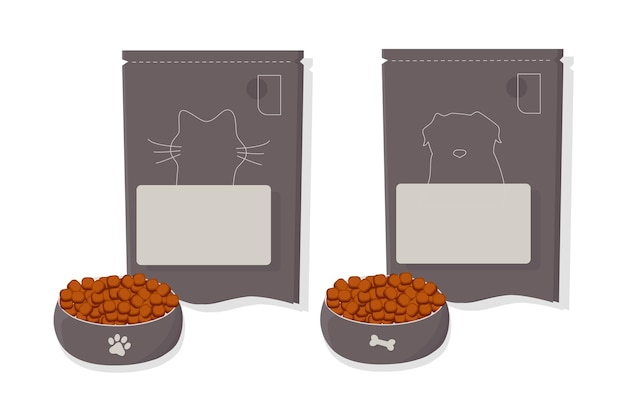 Karma dla kotów i psów. miska, opakowania, reklama. płaska ilustracja