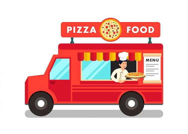 Karmowa ciężarówka przy uliczną festiwal żywności ilustracją