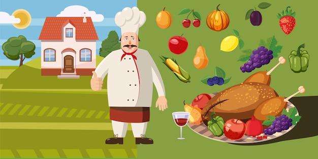 Karmowy horyzontalny tła pojęcia kucharz.