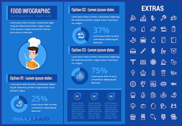 Karmowy infographic szablon, elementy i ikony