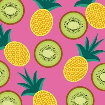 Karmowy owocowy ananasa i kiwi bezszwowy wzór