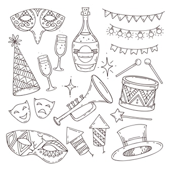 Karnawał atrybuty kolekcja w stylu bazgroły na białym tle, symbole weneckiego karnawału