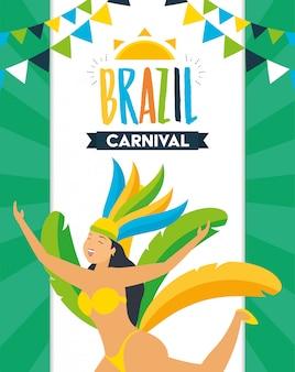 Karnawał brazylijski tancerz