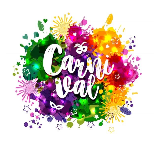 Karnawał mardi gras na kolorowych plamach w akwarela