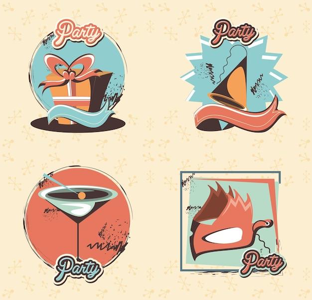 Karnawał zestaw ikon kolekcja wektor ilustracja projektu