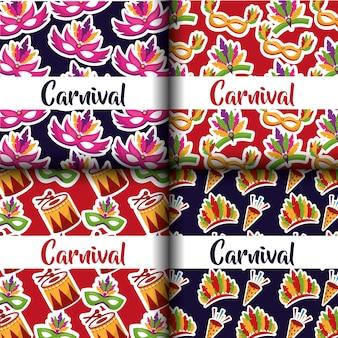 Karnawał zestaw kolorowych maski bębna festiwalu