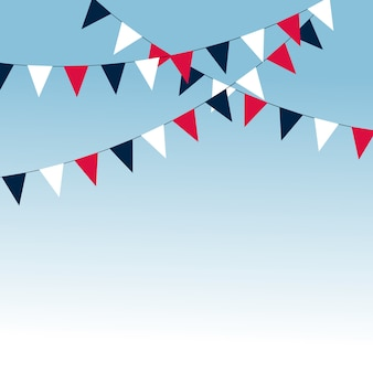 Karnawałowa girlanda z flagami. ozdobne kolorowe proporczyki na przyjęcie urodzinowe, festiwalowe i targowe.