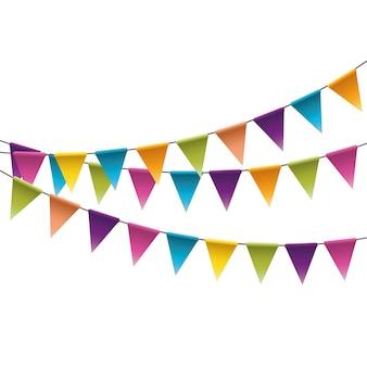 Karnawałowa girlanda z flagami. ozdobne kolorowe proporczyki na przyjęcie urodzinowe