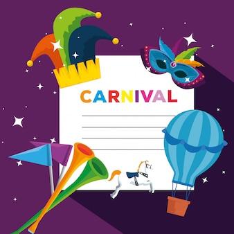 Karnawałowa karta z kapeluszem jokera i balonem na święto festiwalu